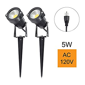 J.LUMI GSS60052 LED Spotlight 5W, 120V AC, 3000K Warm White, Outdoor Use, Metal Ground Stake, Garden Light, Outdoor Spotlight, UL listed 3-ft Cord with Plug (Pack of 2)