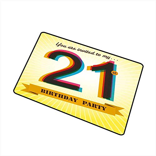 Decorative Floor mat,Invitation to an Amazing Birthday Party on a Golden Colored Backdrop Image 16