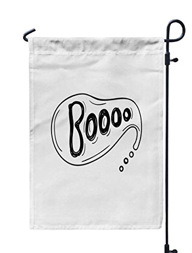 Shorping Garden Flag Stand, 12x18Inch Drawn Bubble with Boo Halloween Concept for Holiday and Seasonal Double-Sided Printing Yards Flags -