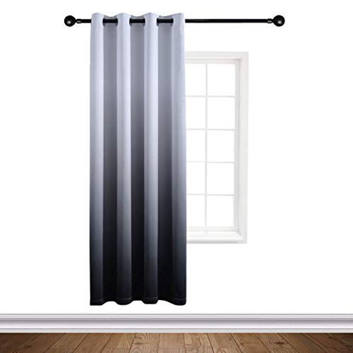 Yakamok Gradient Color Ombre Blackout Curtains Thickening Polyester Thermal Insulated Grommet Window Drapes for Living Room/BedroomBlack, 1 Panel/ 52x96 Inch