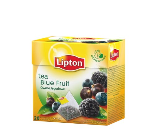 [Pack of 6] Lipton Black Tea - Blue Fruit - Premium Pyramid Tea Bags (20 Count Box)