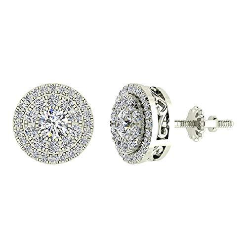 - Double Halo Cluster Diamond Earrings 1.01 ctw 18K White Gold