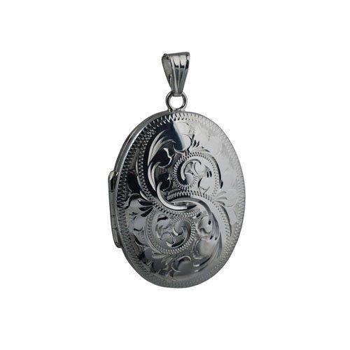 Médaillon à loquet ovale de 35x26mm en argent, gravé, pouvant contenir 4 photos de famille