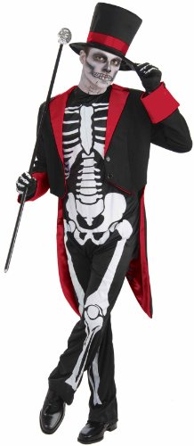 Men's Mr. Bone Jangles Costume, Black/White, One (Ringmaster Halloween Makeup)