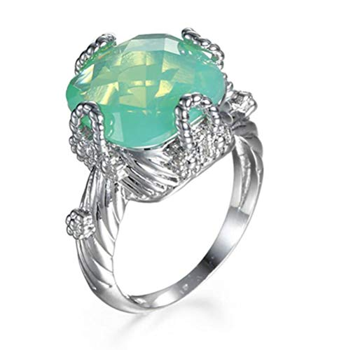 Chen Dick 14k White Gold Vintage Twist Band Simulated Green Opal Cocktail Engagement Ring,Size 7