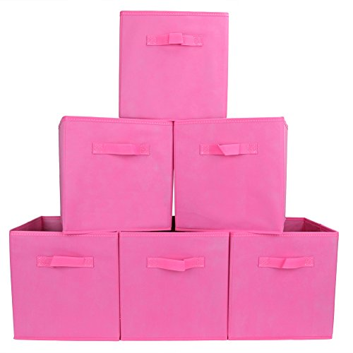 Set of 6 Foldable Fabric Basket Bin- Collapsible Storage Cube