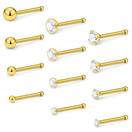 - Lcolyoli 18G 12 Pcs Stainless Steel Nose Rings Studs Bone Pins for Women Girls Piercing Body Jewelry CZ 1.5mm 2mm 2.5mm 3mm Gold-Tone