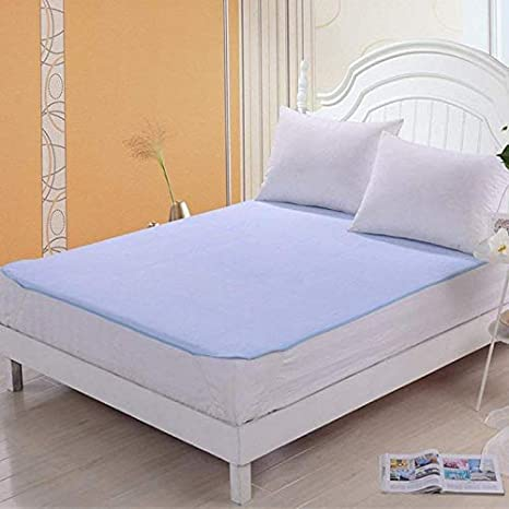 HomeStore-YEP Waterproof Mattress Protector Hypoallergenic Double Bed King Size Cover (babycare, Color - Blue, Size-72x75)