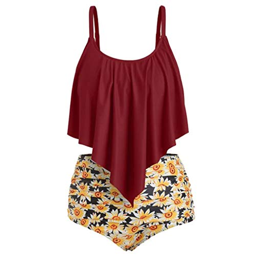 TTINAF Women Ruffled High Waisted Tankini Set, Solid Strap Tank Tops Swimwear Sunflower Bodysuits 2PC Bathing Suit (M, Wine Red)