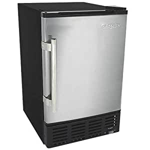 EdgeStar IB120SS Ice Maker, 12 lbs, Stainless Steel and Black