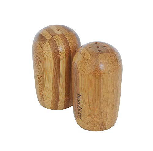 (Natural Bamboo Wood Salt and Pepper Shakers, Antibacterial, Cute Set For Your Kitchen)
