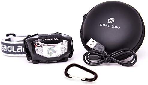 SAFE DAY Linterna Frontal LED, Recargable por USB, Sensor de luz ...