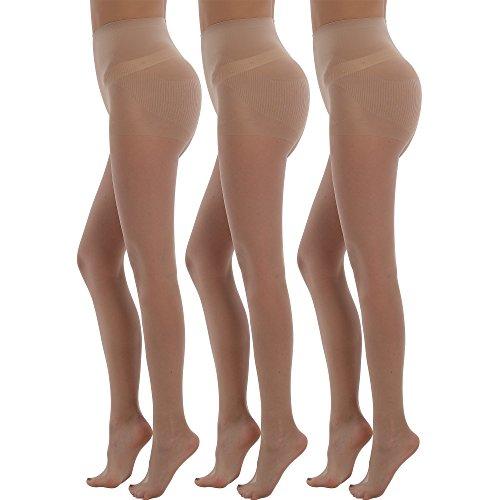 BONAS 3Pack Shock Up Pantyhose 20 Denier Control Top Stockings Push Up Tights Shaped