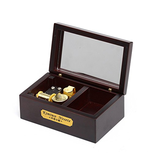 YouTang(TM) 18 Note Wind-up Wooden Musical Box with Mirror, Gold Musical Movement, Model M33 (Claret,Melody:Lilium from Elfen Lied)