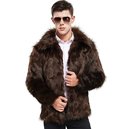 Zicac Men's Faux Fur Coat Winter Warm Fur Jacket Luxury Long Sleeve Overcoat Outerwear Parka(Coffee, US L/Asia Tag XXXL)