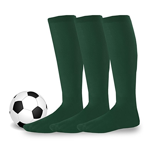 Soxnet Acrylic Unisex Soccer Sports Team Cushion Socks 3 Pack (Junior (7-9), Dark - Sport Green