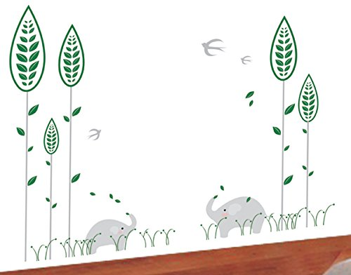 Elephant and Little Forest Pop Decors PT-0029-Va Beautiful Wall Decal