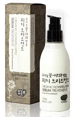 Whamisa Organic Flowers Apple Sebum Treatment 120ml, 4.06 fl. oz, Alcohol-Free Excess Sebum Control for Oily Skin - Naturally fermented, EWG Verified