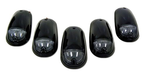 Dodge 03-15 Heavy-Duty 2500 & 3500 (5-Piece Set) Smoked Cab Roof Light Lens with Amber LED's - Complete Kit With Wiring & Hardware