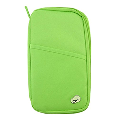 Loriver Travel Passport Tarjeta de Identificación de Crédito Cash Holder Organizer Wallet Purse Case Bag (Verde)
