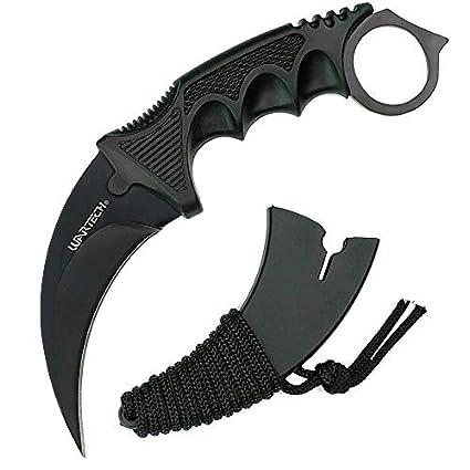 Amazon.com: Cuchillo de caza de Karambit negro con hoja fija ...