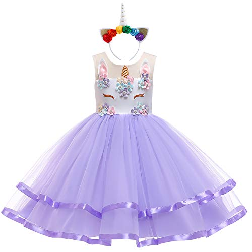 Teen Big Girl Christmas Holiday Unicorn 2,3,4,5,6,7 Year Old Gift for Baby Toddler Princess Costume Party Winter Ballet Clothes S# White+Purple(2pcs) 9-10 Years -