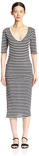 V byTiMo byTiMo Grey Stripe Women Women s Dark Neck Dress TxXxHvqwS