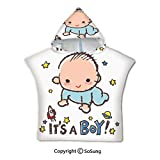 Gender Reveal Decorations Toddler Hooded Beach Bath Towel,Little Baby Boy Smiling with Stars
