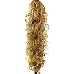 """S-ssoy 31"""" Women's Claw Clips Ponytail Wavy Long Curly in Hair Extensions Voluminous Wigs Curled Hairpieces for Girl Lady Women,P27-613#"""