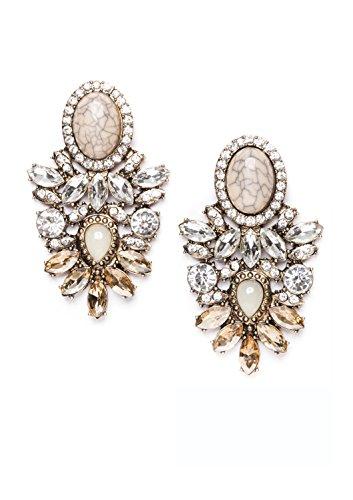 Statement Earrings with Rhinestones in Beige | Big Chandelier Earrings in Pastel Nude Colors nickel free