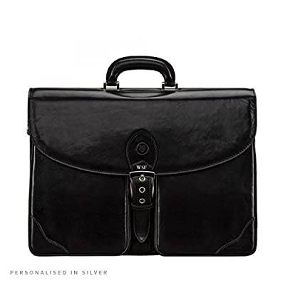hot sale Maxwell Scott Personalized Full Grain Leather Large Business Briefcase (Tomacelli 3 section)