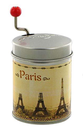 R/éf : BM-PEIF-01 Loui Lut/èce Cr/éations Bo/îte /à Musique /à manivelle dans Une bo/îte de r/ésonnance en m/étal agr/ément/ée dune Photo de la Tour Eiffel en Construction - La Vie en Rose