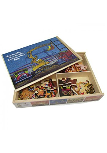 Goodnight, Goodnight, Construction Site 24 Piece Wood Jigsaw Puzzles, Set of 4, 11