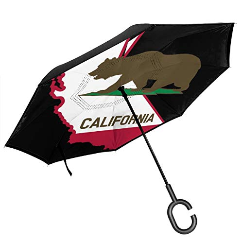 MKJIH California Flag and State Windproof and UV Protection Double Layer Folding Inverted Umbrella, Self Stand Upside-Down Rain Protection Car Reverse Umbrellas with C-Shaped Handle (Best Baby Back Ribs In Los Angeles)