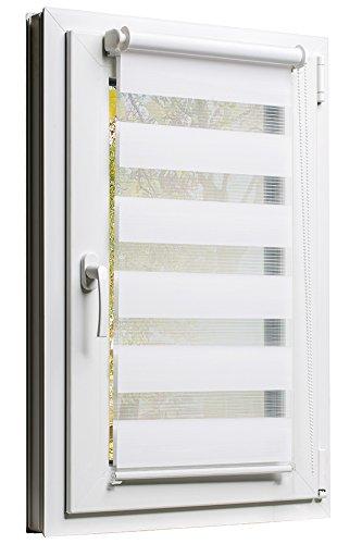 TEXMAXX Fensterrollo Duo-Rollo Sonnenschutz mit Kettenzug und Klemmfix in WEISS, Leisten in Weiss - 100 x 150 cm - inkl. Zubehör