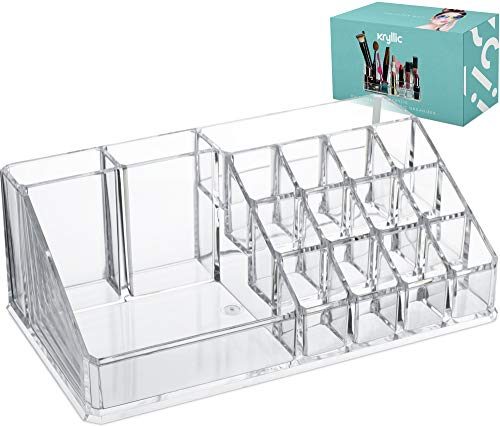 Lipstick Makeup Cosmetic Storage Organizer – Clear organizers for brush palette make up eyeshadow nail polish perfume lipsticks lipgloss pens more Acrylic vanity case holder for any size cosmetics