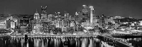 Pittsburgh Skyline 2017 Photo Print Unframed Night Downtown City Black & White Bw Photographic
