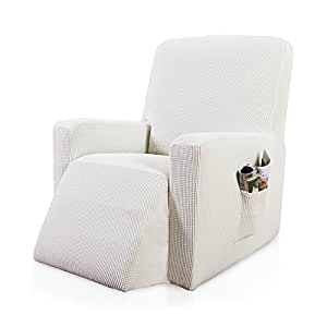 Subrtex Stretch Chair Slipcover Furniture Protector Lazy Boy Covers for Leather and Fabric Sofa with Side Pocket (Recliner, Off-White)