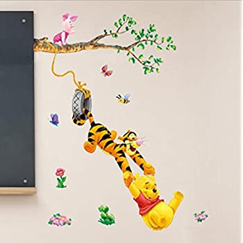 Removable Vinyl Wall Sticker Mural Decal Art Winnie The Pooh Swinging Wall  Decal