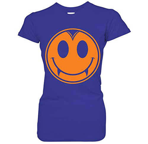 Dracula Vampire Smiley Face Emoji Happy Halloween Costume Juniors T-Shirt (XL Royal) -