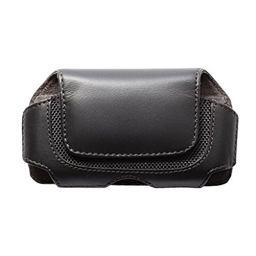 Black Leather Phone Case Cover Pouch Holster Swivel Belt Clip for US Cellular Samsung Exec i225 - US Cellular Samsung Freeform 4 - US Cellular Samsung Freeform 5 - US Cellular ZTE Director - Exec Stitching Leather
