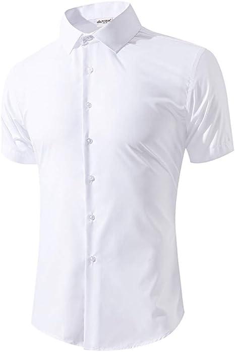 GKKYU Camisa Blanca de Verano de los Hombres de la Escuela de Manga Corta Estudiante de los Hombres Camisa Ocasional Slim Fit Formal Camisa Boy Boy Ropa: Amazon.es: Deportes y aire libre