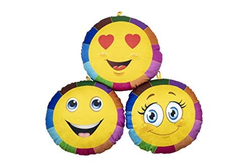 Keshav Creation™ Combo of Child Smiley Cushion Reversible Printed Emoji Aspect Sample Coloring Packing containers|13X13 inch Tender Toys Cushion for Automotive/Couple Reward/Mattress |Velvet Material Grasp it on Any The place (3 Pillow)