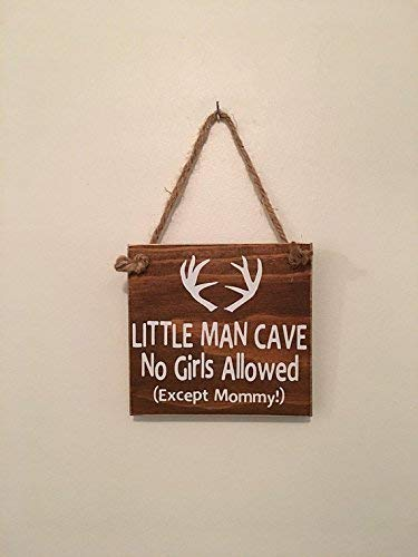 Little Man Cave No Girls Allowed Except Mommy | Antler | Woodsy Nursery | Door Sign by Millies Attic (Image #4)