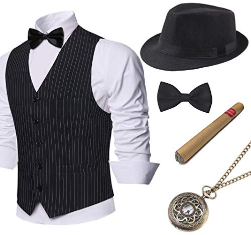 BABEYOND 1920s Mens Gatsby Gangster Vest Costume Accessories Set Fedora Hat (Z-Black Stripe, Small) (1920 Sonnenbrille)