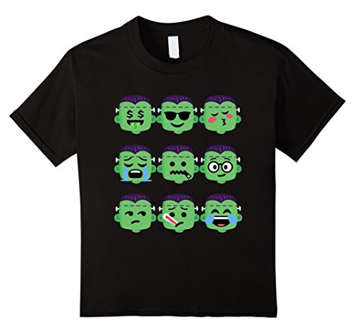 Kids Frankenstein Emoji T-Shirt Funny Faces 2 Halloween Costume 10 (Emoji 2 Halloween Costume)