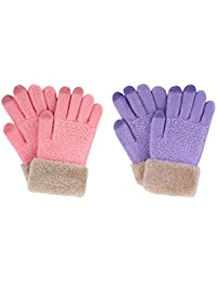 2 Pack Kids Touchscreen Winter Knit Mitten Gloves, Lilic Purple/Cherry Blossom