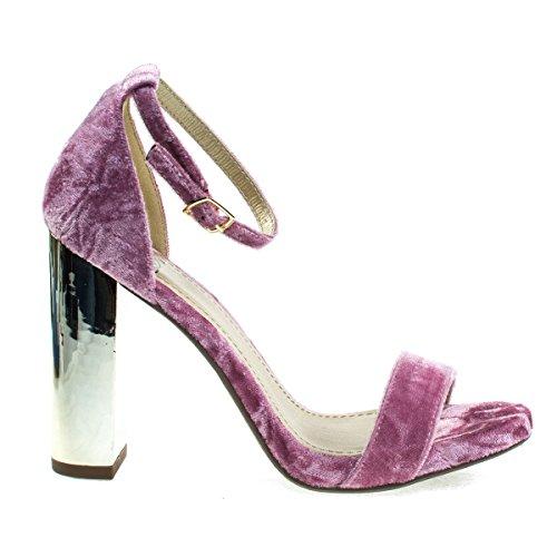 Sandalo Con Tacco In Metallo Specchiato, Cinturino Alla Caviglia Regolabile In Velluto Denim Color Malva