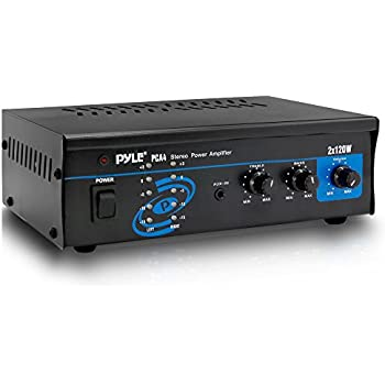 home theater power amplifier. pyle 2x120 watt home audio speaker power amplifier - portable dual channel surround sound stereo receiver theater e