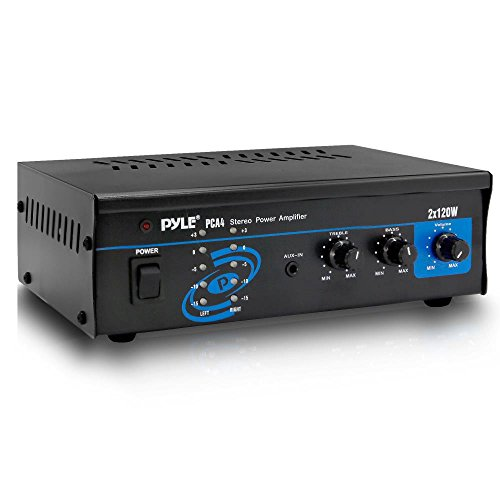 Pyle 2x120 Watt Home Audio Speaker Power Amplifier - Portable Dual Channel Surround Sound Stereo Receiver - For Amplified Subwoofer Speakers, DVD, MP3, iPhone, Computer, Theater via 3.5mm RCA - PCA4 - Watt Powered Amplifier